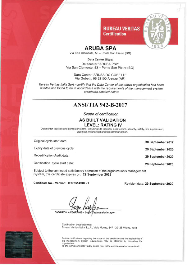 Certifications - ISO - ISAE - ANSI/TIA - GO | Aruba it