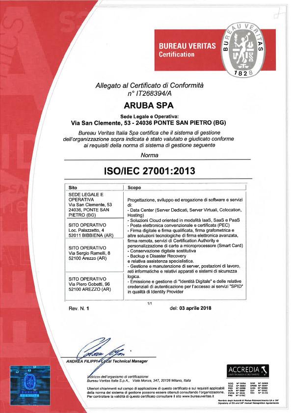 Certifications - ISO - ISAE - ANSI/TIA - GO | Aruba.it